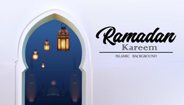 Lanterna árabe ramadan com mesquita e moldura em forma de arco.