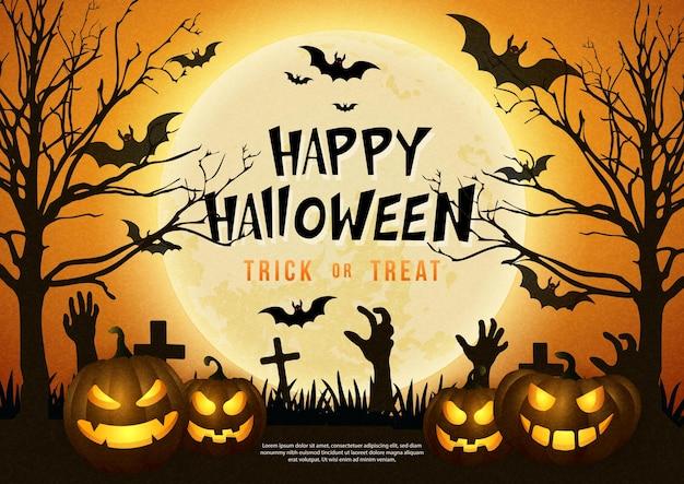 Lanterna assustadora de halloween feliz com fundo de cemitério de lua cheia