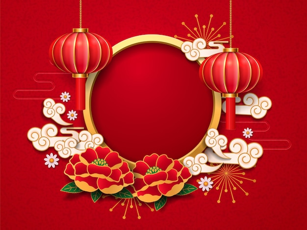 Lanterna chinesa, lâmpada e peônia, flores margaridas, nuvens e fogos de artifício