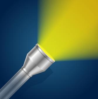 Lanterna com luz de bolso amarelo brilhante