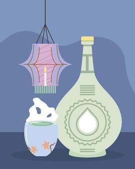 Lanterna coreana e bebida
