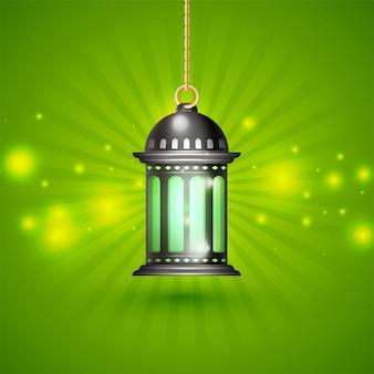 Lanterna criativa iluminada pendurada em raios brilhantes de fundo para o mês sagrado islâmico do jejum, ramadan kareem.