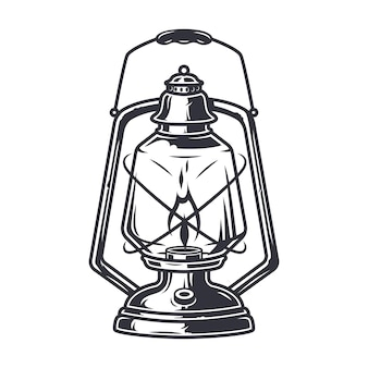 Lanterna de acampamento retrô de querosene monocromática