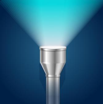 Lanterna de bolso com luz azul brilhante