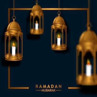 Lanterna de fanoos dourada de suspensão 3d de luxo para ramadan mubarak