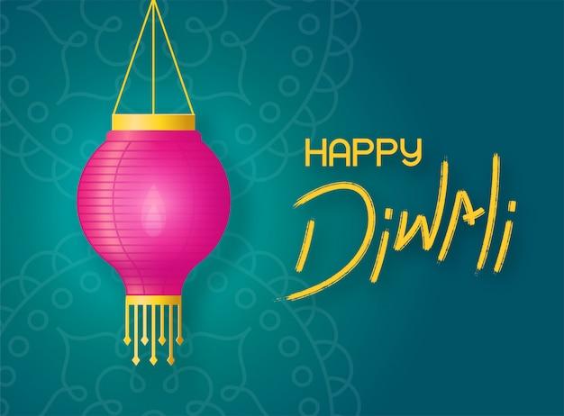 Lanterna de papel com fogo paira sobre o fundo verde rangoli. conceito banner feliz diwali com letras e lanterna de férias