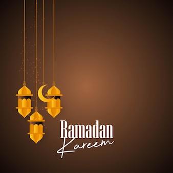 Lanterna hangning com tipografia criativa de ramadan kareem