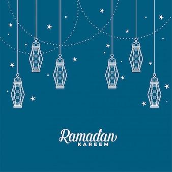 Lanterna islâmica de suspensão decorativa ramadan kareem fundo