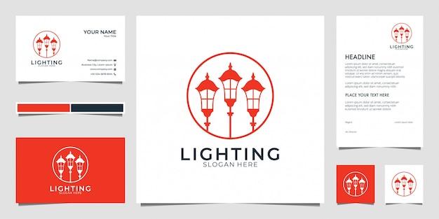 Lanterna, lâmpada, design de logotipo de iluminação, cartão de visita e papel timbrado