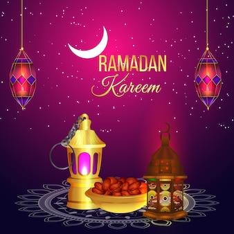 Lanterna realista de celebração ramadan kareem ou eid mubarak e