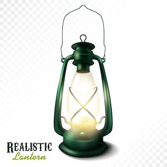 Lanterna realista isolada em um vetor iluminado de lâmpada de querosene de fundo branco Vetor Premium
