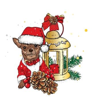 Lanterna vintage com um cachorrinho fofo e uma árvore de natal