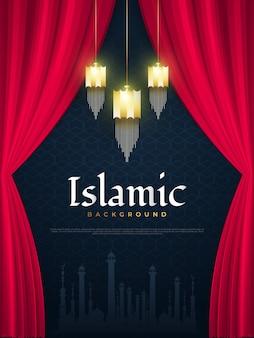 Lanternas árabes douradas islâmicas, cortinas vermelhas e silhueta de mesquita