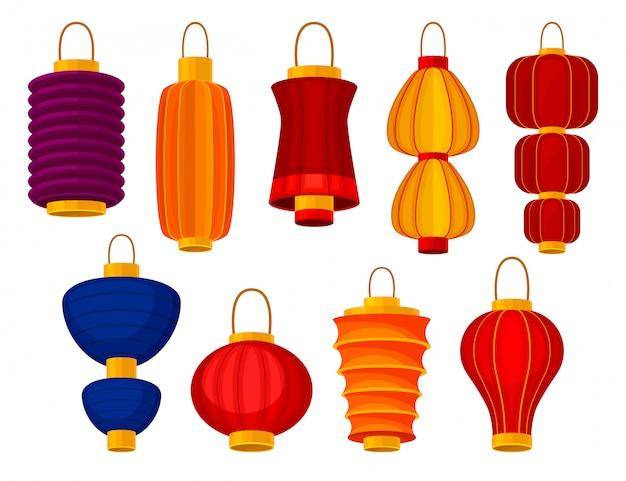Lanternas chinesas coloridas sobre fundo branco. ilustração.