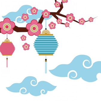 Lanternas chinesas e decoração de flores