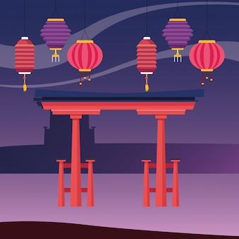 Lanternas chinesas e portão vermelho