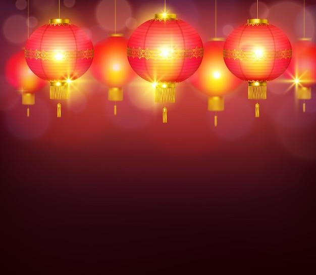 Lanternas chinesas queimando com luz forte e fundo vermelho iluminante