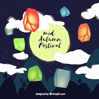 Lanternas com luzes, festival de meio outono