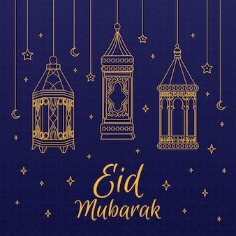 Lanternas de contorno pendurado mão desenhada eid mubarak