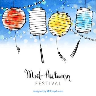 Lanternas de cores diferentes, festival de meados de outono