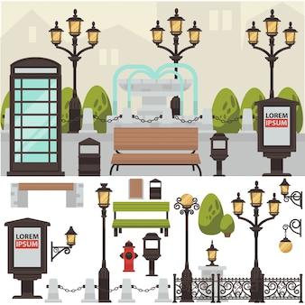 Lanternas de itens exteriores de rua.