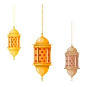 Lanternas de ramadan kareem multicoloridas, isoladas no branco