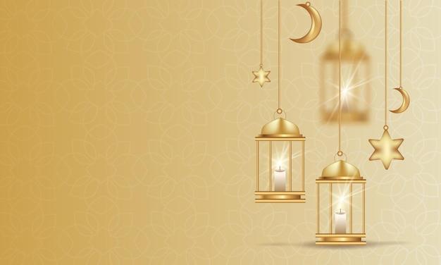 Lanternas do ramadã sobre um fundo dourado claro.