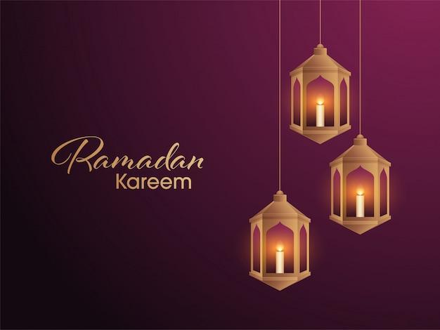 Lanternas douradas árabes iluminadas