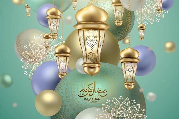 Lanternas elegantes com esfera roxa e turquesa, a caligrafia ramadan mubarak significa um feriado feliz