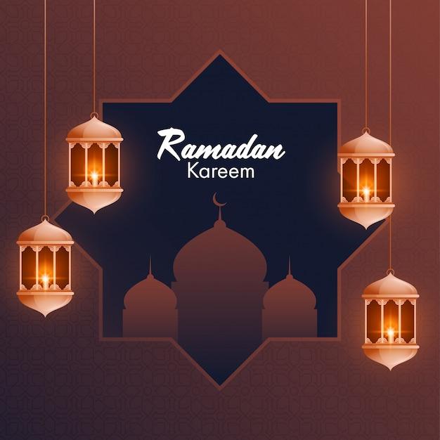 Lanternas iluminadas e bela mesquita em fundo marrom para o mês sagrado islâmico de orações,