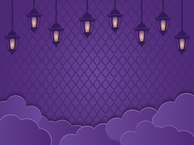 Lanternas islâmicas, nuvens e ornamentos em um fundo roxo. conceito criativo do projeto de cartão de ramadhan ou de fitri adha, mawlid, isra miraj, copie a área de texto do espaço, ilustração.
