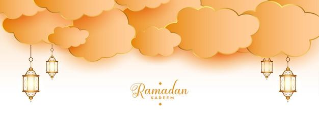 Lanternas islâmicas ramadan kareem e banner de nuvens