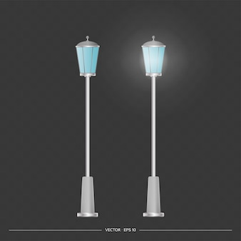 Lanternas metálicas que brilham. poste de luz com luz realista. vetor.