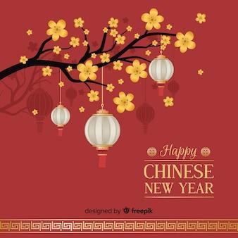 Lanternas, penduradas, de, um, árvore, ano novo chinês, fundo