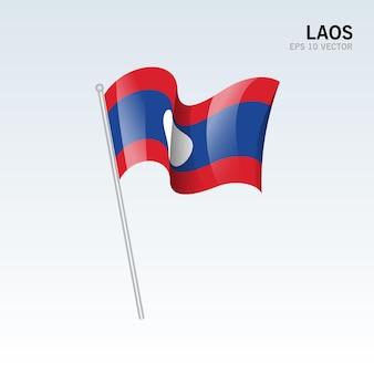 Laos agitando bandeira isolada em cinza