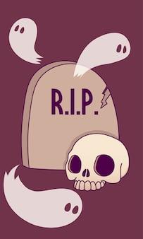Lápide, cemitério, crânio, fantasmas