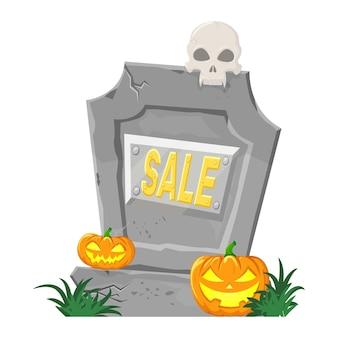 Lápide com abóboras, crânio e a inscrição venda, gráficos vetoriais em estilo cartoon.