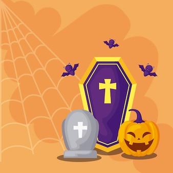 Lápide com ícones na cena halloween