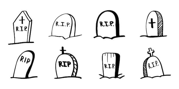 Lápide de halloween de vetor, clipart de cemitério. ilustração engraçada e bonita para design sazonal, têxteis, sala de jogos de crianças de decoração ou cartão de felicitações. impressões de mão desenhada e doodle.