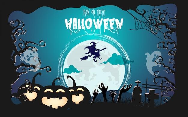 Lápide de halloween sob o luar. floresta assustadora à noite