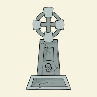 Lápide de sepultura ilustração em vetor desenhada à mão isolada no fundo