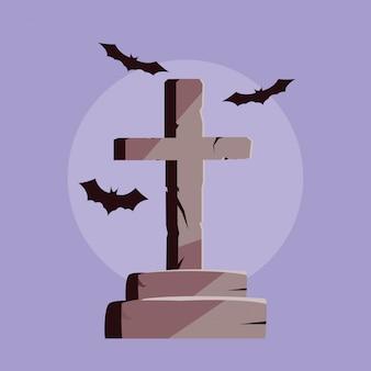 Lápide em forma de cruz e morcegos voando