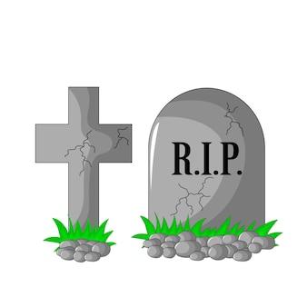 Lápide rip e cruz com pedras e grama isolada