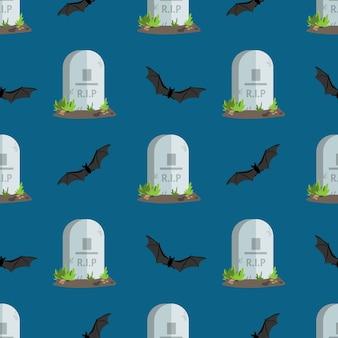 Lápides de padrão sem emenda de halloween com texto rip.