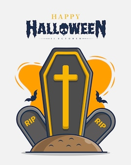 Lápides e caixões com ilustração do ícone da celebração do feliz dia das bruxas