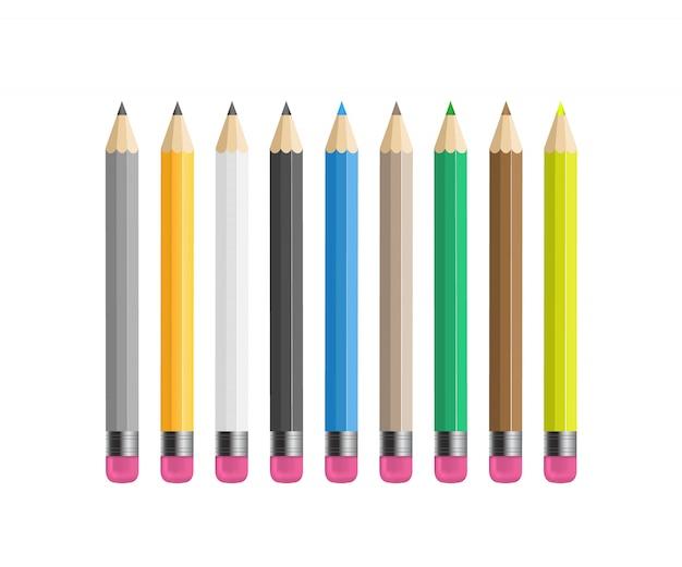 Lápis afiados de madeira amarelos