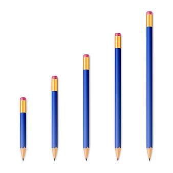 Lápis afiados de madeira azuis