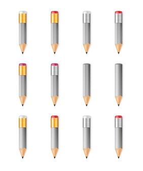 Lápis afiados de madeira cinza