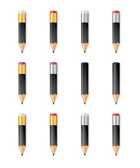Lápis afiados de madeira pretos