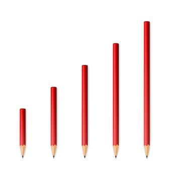 Lápis afiados de madeira vermelhos